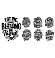 set with lettering quotes for thanksgiving day vector image vector image