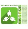 Three Teeth Icon and Medical Longshadow Icon Set vector image vector image