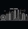 tianjin silhouette skyline china - tianjin vector image vector image
