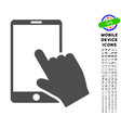 touch smartphone icon with set vector image
