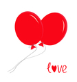 Two red flying balloons Love card vector image