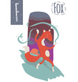 vertical of fox with colorful background dancing vector image vector image