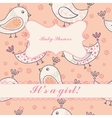 Vintage birds baby shower girl vector image vector image