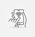 wifi smartphone in hands outline icon smartphone vector image