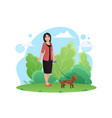 woman walking with small dog pet in park vector image