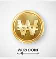 won gold coin realistic korean money sign vector image vector image