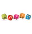 Word HAPPY written with alphabet blocks vector image vector image