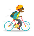 young african-american boy riding a bicycle vector image