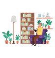 young man in the livingroom with tablet avatar vector image vector image