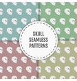 Seamless pattern with skulls on blue green red vector image