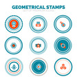 set of abstract geometrical round stamps vector image