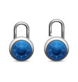 3d realistic blue closed opened metal vector image vector image