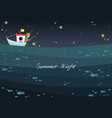 a man is fishing on fishing boat at night vector image