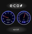Abstract car speedometer and tachometer on black b vector image