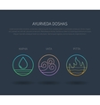 Ayurveda doshas thin icons isolated on dark vector image vector image