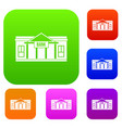 bank building set collection vector image vector image