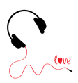 Black headphones with red cord Love card vector image vector image