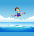 boys riding plane over sea vector image