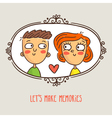 Cartoon couple in love framed picture with lovely vector image