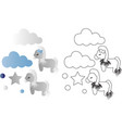 cartoon cute toy pony clouds and stars vector image vector image