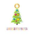 christmas card template with green christmas tree vector image vector image