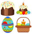 colorful easter candle egg basket cake icon set vector image