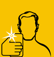 Contour of man taking selfie with smartphone in vector image vector image