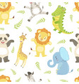 cute african animals childish seamless pattern vector image vector image