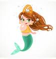 cute little mermaid girl in coral tiara among air vector image