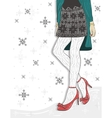 Cute winter fashion background vector image