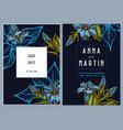 dark wedding invitation card with colored gentiana vector image vector image