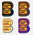 double burger in letter b typographic emblem vector image