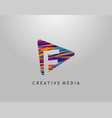 f letter logo play media concept design perfect vector image vector image