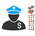 financial policeman icon with valentine bonus vector image vector image