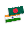 flags india and bangladesh on a white