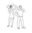 flat woman smoking man pinches nose vector image vector image