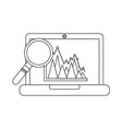 graph chart on laptop screen icon image vector image vector image