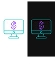green and purple line computer monitor with dollar vector image vector image