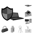 hacker and hacking monochrome icons in set vector image vector image