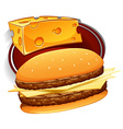 Hamburger with meat and cheese vector image