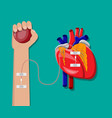 hand donor with heart vector image