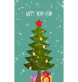 Happy new year greeting card Christmas tree and vector image vector image