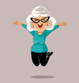 happy senior woman jumping with excitement vector image