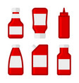 ketchup sauces bottles and packages set vector image vector image