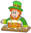 leprechaun with three beers vector image