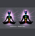 meditating male and female silhouettes vector image vector image