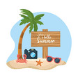 palm tree with camera and sunglasses with crab in vector image