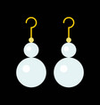 pearl drop earring jewelry related icon flat vector image vector image