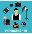 Photographer with equipment and items vector image vector image