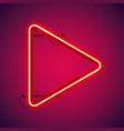 red neon play symbol vector image vector image